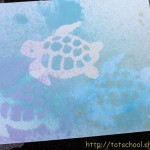 Watercolor Spray Painting with Stencils