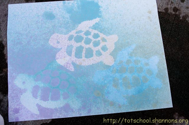 Watercolor Spray Painting with Stencils « Shannon\'s Tot School