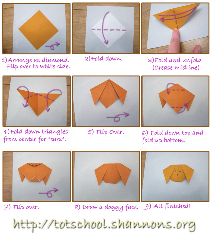 Origami For Kids Simple Dog Shannons Tot School