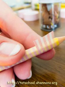 Washi Tape Pencils (Shannon's Tot School)