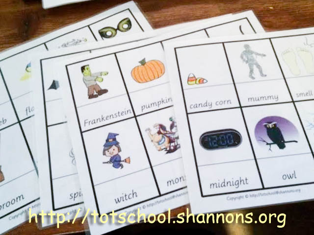 free printable halloween picture cards for a classroom charades game